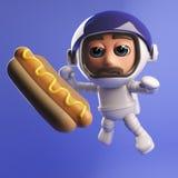 Astronauta do astronauta com o cachorro quente que flutua no espaço 3d