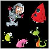 Astronauta do menino dos desenhos animados com sua nave espacial ilustração stock