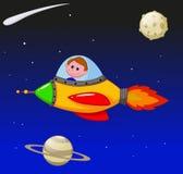 Astronauta do menino dos desenhos animados na nave espacial Fotos de Stock Royalty Free