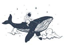 Astronauta e baleia nas nuvens ilustração stock