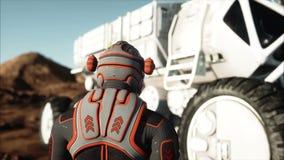 Astronauta e vagabundo no planeta estrangeiro Marciano estraga sobre Conceito da ficção científica Animação 4K realística ilustração royalty free