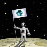 Astronauta em um outro planeta ilustração stock