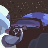 Astronauta en el coche en el medio del espacio contra el contexto del planeta, el coche en espacio Foto de archivo