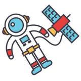 Astronauta en espacio con la nave espacial, astronauta, concepto de la nave espacial Stock de ilustración