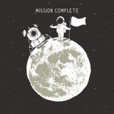 Astronauta en la luna ilustración del vector