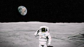 Astronauta en la luna cerca de los saludos del lander fondo de la animación 3D ilustración del vector