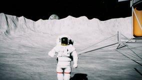 Astronauta en la luna en el cráter cerca de los saludos del lander animación del fondo 3D ilustración del vector