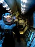 Astronauta en la puerta de la nave espacial ilustración del vector