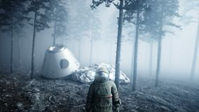 Astronauta en miedo y horror del bosque de la noche de la niebla lugar de aterrizaje animación 4K metrajes