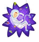 Astronauta engraçado no terno de espaço na ausência de peso feita da ilustração das estrelas fotos de stock