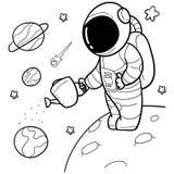 Astronauta exhausto de la mano linda stock de ilustración