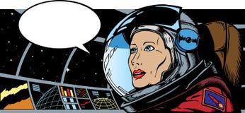 Astronauta fêmea no espaço Fotos de Stock Royalty Free
