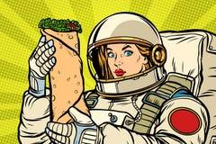 Astronauta hambriento de la mujer con el kebab de Shawarma stock de ilustración