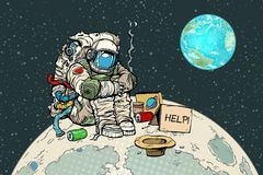 Astronauta hambriento pobre en la luna ilustración del vector