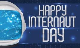 Astronauta Helmet Navigating en Internet para celebrar el día del Internaut, ejemplo del vector Imagen de archivo libre de regalías