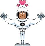 Astronauta Hug dos desenhos animados ilustração do vetor