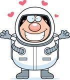 Astronauta Hug dos desenhos animados ilustração stock
