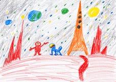 Astronauta i pies bada czerwoną planetę, astronautyczny pojęcie, dziecko rysunek na papierze royalty ilustracja