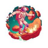 Astronauta jazdy deskorolka w astronautycznym wektorze ilustracji