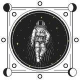 astronauta kosmita Księżyc przeprowadza etapami planety w układzie słonecznym astronomiczna galaxy przestrzeń kosmonauta bada prz royalty ilustracja