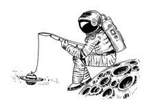 Astronauta kosmita z połowu prąciem na księżyc astronomiczna galaxy przestrzeń Śmieszny kosmonauta bada przygodę ilustracji