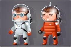 Astronauta kosmonauta kosmita przestrzeni fantastyka naukowa ikon kreskówki RPG gry 3d projekta wektoru ilustracja ilustracji