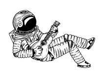 Astronauta lub kosmita wznosi się z gitarą przygoda w astronomicznej galaxy przestrzeni kosmonauta bada planety wewnątrz royalty ilustracja