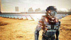 Astronauta marsjańscy powroty baza po sprawdzać panel słoneczny Super realistyczny pojęcie ilustracji