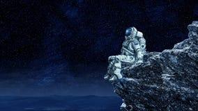 Astronauta na borda da rocha Meios mistos ilustração royalty free