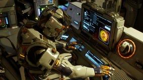 Astronauta na jego astronautycznego statku bieg na komputerze zbiory