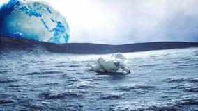 Astronauta na lua com estrangeiro Animação 4K realística vídeos de arquivo