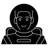 Astronauta - astronauta nell'icona del casco, illustrazione di vettore, segno nero su fondo isolato illustrazione vettoriale