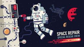 Astronauta nella riparazione della tuta spaziale un'astronave nello spazio cosmico illustrazione di stock