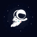 Astronauta nello spazio fra le stelle su un fondo scuro illustrazione di stock
