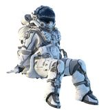 Astronauta no branco Meios mistos imagem de stock