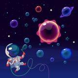 Astronauta no espaço Fotos de Stock Royalty Free