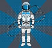 Astronauta no estilo do pop art Cosmonauta no fundo azul para seu projeto Foto de Stock