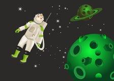 Astronauta no planeta estrangeiro Foto de Stock Royalty Free