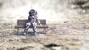 Astronauta no spacesuit no banco Meios mistos imagem de stock royalty free