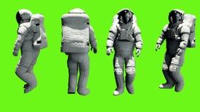 Astronauta odprowadzenie Loopable animacja na zieleń ekranie 4K royalty ilustracja