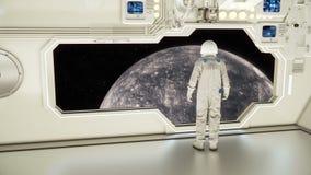 Astronauta ogląda rtęć na statku kosmicznym ilustracja wektor