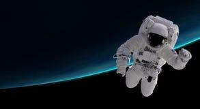 Astronauta in orbita l'orbita terrestre illustrazione di stock