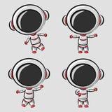 Astronauta pequeno engraçado em poses das diferenças ilustração stock