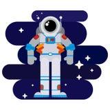 Astronauta piano nello spazio fra le stelle illustrazione di stock