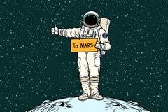Astronauta pociągniecia przejażdżki na Mars royalty ilustracja
