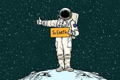 Astronauta pociągniecia przejażdżki na ziemi royalty ilustracja