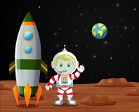 Astronauta pozycja na planety ilustraci Fotografia Royalty Free