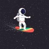 Astronauta przejażdżki na latanie desce na wszechświacie Pozaziemski ścieżka kosmita przez wszechświatu ilustracja wektor