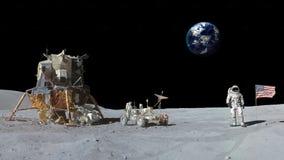 Astronauta que camina en la arena de la luna que saluda la bandera americana Animación del CG Elementos de este vídeo equipado po ilustración del vector