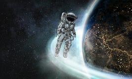 Astronauta que corre técnicas mixtas rápidas Imagen de archivo
